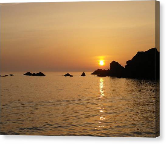 Sunset Crooklets Beach Bude Cornwall Canvas Print