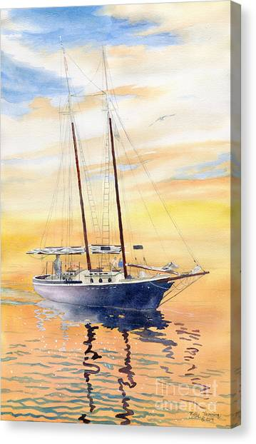 Schooner Canvas Print - Sunset Cruise by Melly Terpening