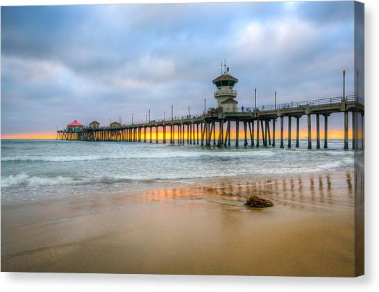 Sunset Drifting Under The Pier Canvas Print