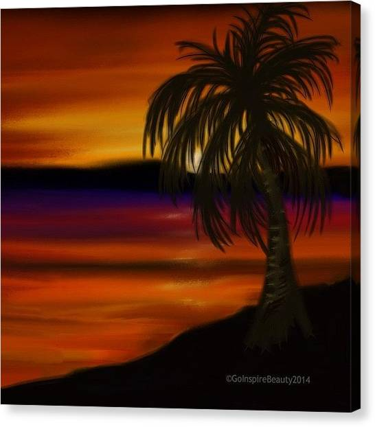 Palm Trees Canvas Print - Sunset Escape by Go Inspire Beauty