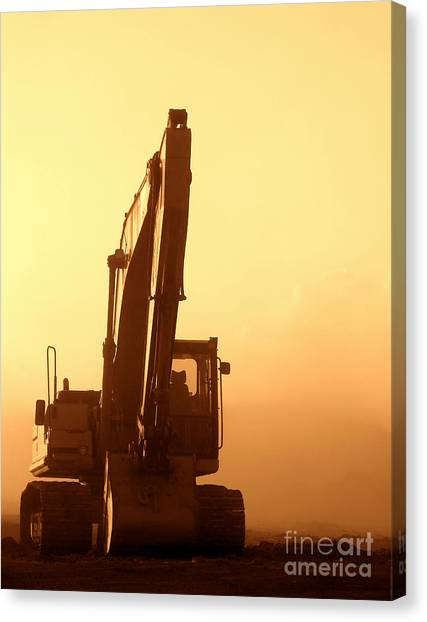 Shovels Canvas Print - Sunset Excavator by Olivier Le Queinec