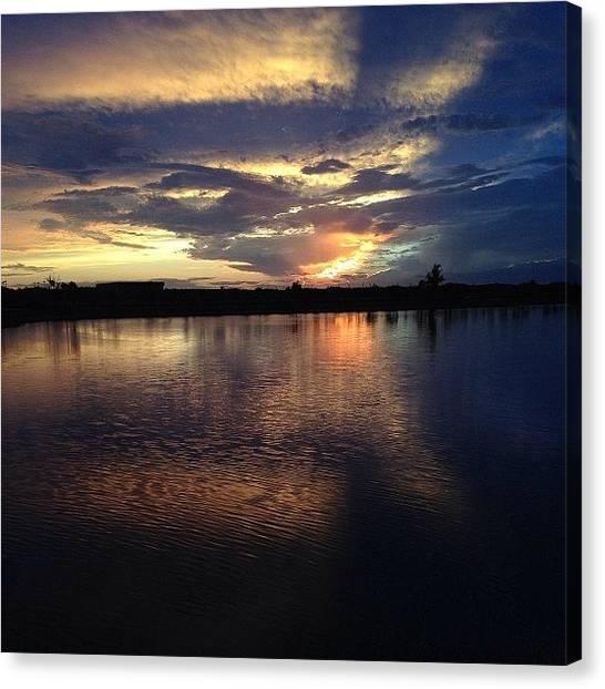Lake Sunsets Canvas Print - #sunset #florida #lake #nofilter by Melissa Garcia
