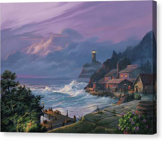 Cottages Canvas Print - Sunset Fog by Michael Humphries