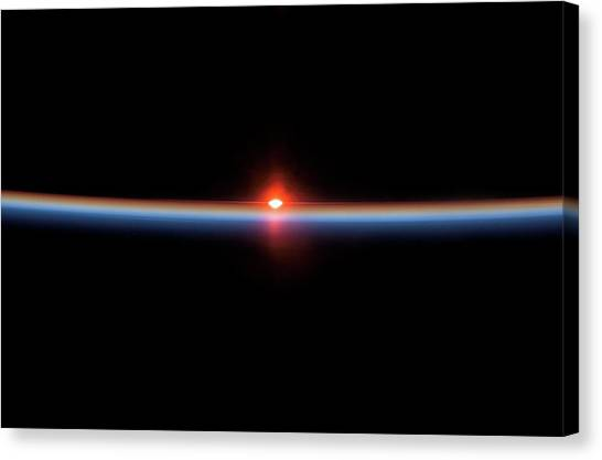 Sunset Horizon Canvas Print - Sunset From Earth Orbit by Nasa/science Photo Library