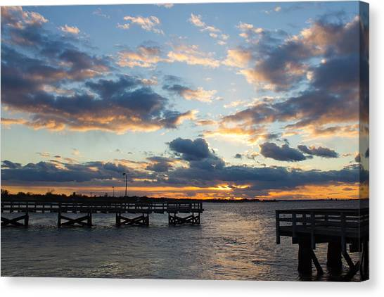 Sunset From The Fishing Piers Canvas Print