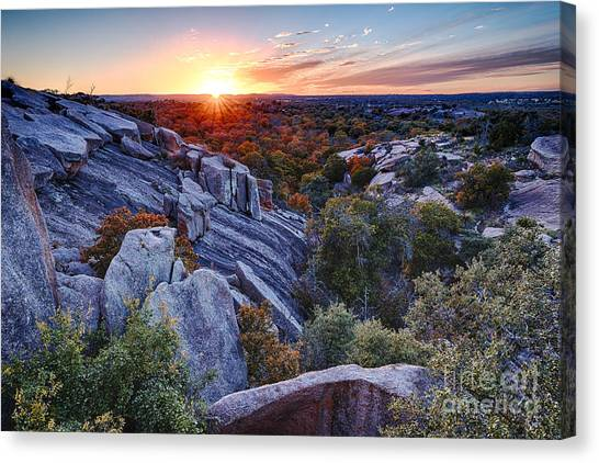 Sunset From The Top Of Little Rock At Enchanted Rock State Park - Fredericksburg Texas Hill Country Canvas Print