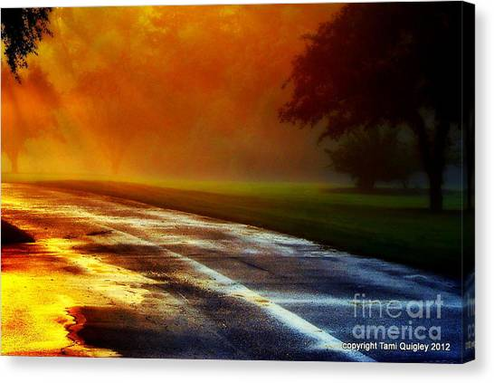 Sunset Glint In The Mist Canvas Print