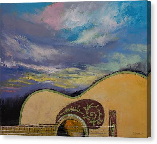 Acoustic Guitars Canvas Print - Sunset Guitar by Michael Creese