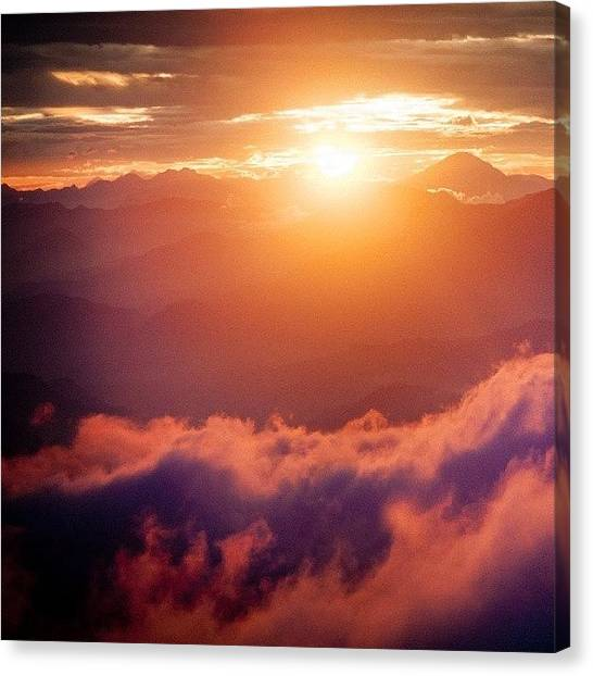 Sunset Horizon Canvas Print - Sunset Himalayas by Raimond Klavins