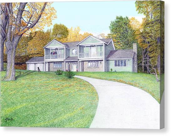 Sunset House In Fall Canvas Print