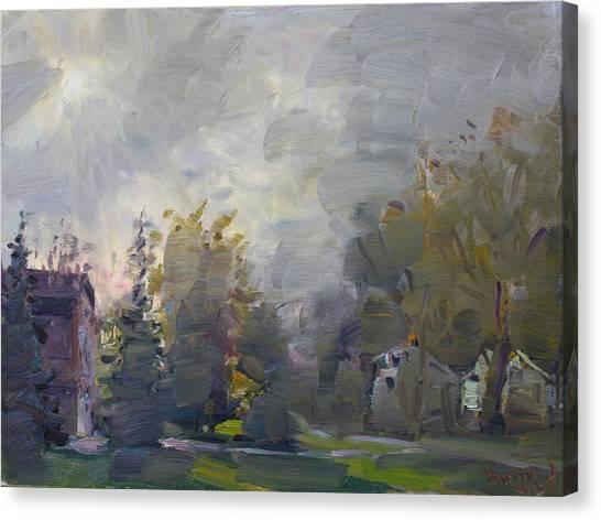 Foggy Canvas Print - Sunset In A Foggy Fall Day by Ylli Haruni