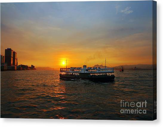 Hong Kong Canvas Print - Sunset In Hong Kong With Star Ferry by Lars Ruecker