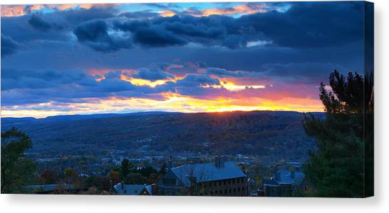 Cornell University Canvas Print - Sunset In Ithaca New York Panoramic Photography by Paul Ge