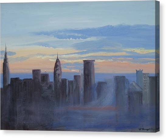 Sunset In New York Canvas Print by Patricia Kimsey Bollinger