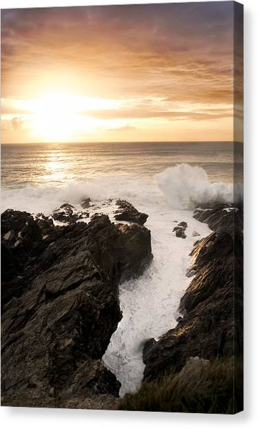 Sunset In Newquay Canvas Print