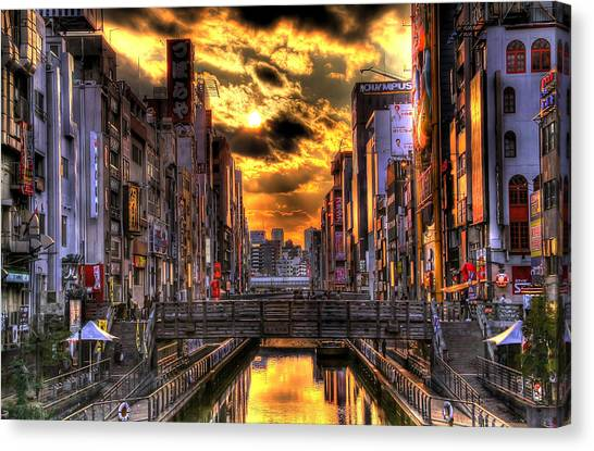 Sunset In Osaka Canvas Print by SEOS Photography