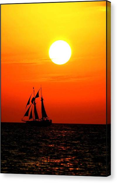 Sunset In Paradise Canvas Print by Claudette Bujold-Poirier