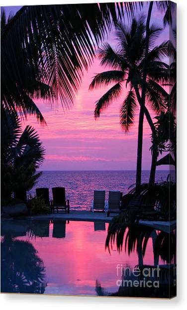 Sunset In Paradise Canvas Print by Lars Ruecker