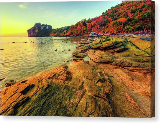 Sunset In Phi-phi Don Island, Thailand Canvas Print by Moreiso