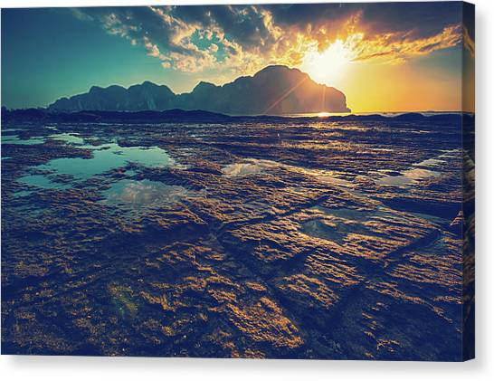 Phi Phi Island Canvas Print - Sunset In Phiphi Island, Thailand by Moreiso