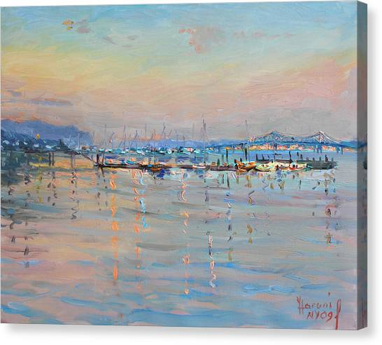 Sunset Canvas Print - Sunset In Piermont Harbor Ny by Ylli Haruni