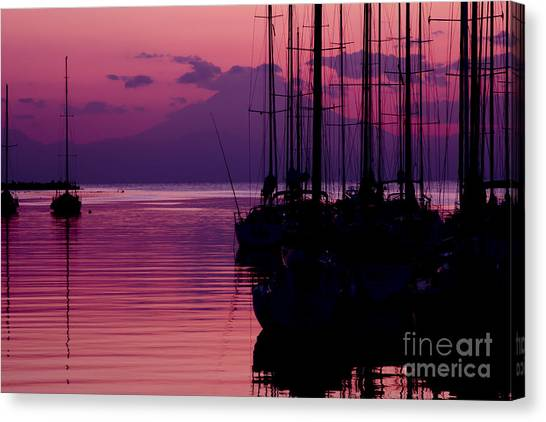 Sunset In Pink And Purple With Yachts At Bay Canvas Print