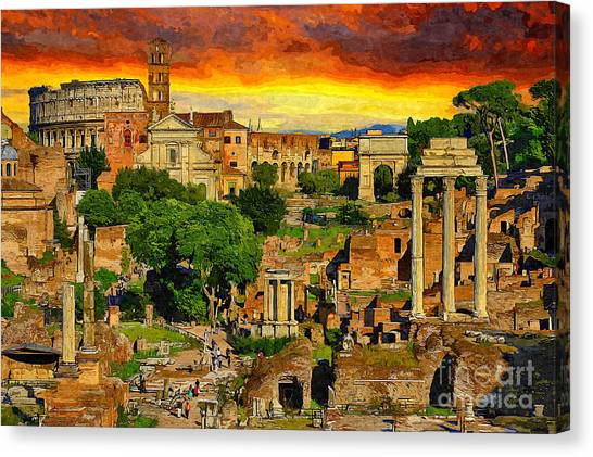 The Colosseum Canvas Print - Sunset In Rome by Stefano Senise
