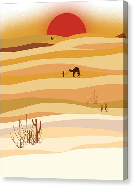 Deserts Canvas Print - Sunset In The Desert by Neelanjana  Bandyopadhyay