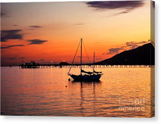 Sunset In The Harbor Canvas Print