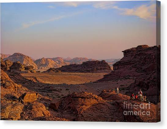 Rum Canvas Print - Sunset In The Wadi Rum Desert Jordan by David Smith