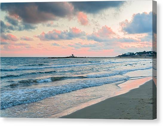 Sunset In Vilanova I La Geltru Near Barcelona Spain Canvas Print