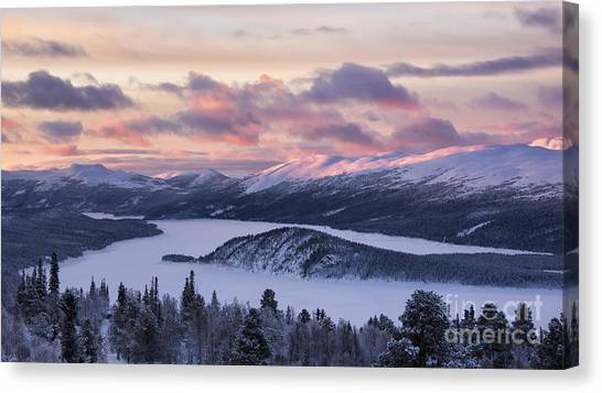 Sunset In Winter Mountains Canvas Print