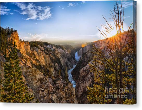 Sunset In Yellowstone Grand Canyon Canvas Print