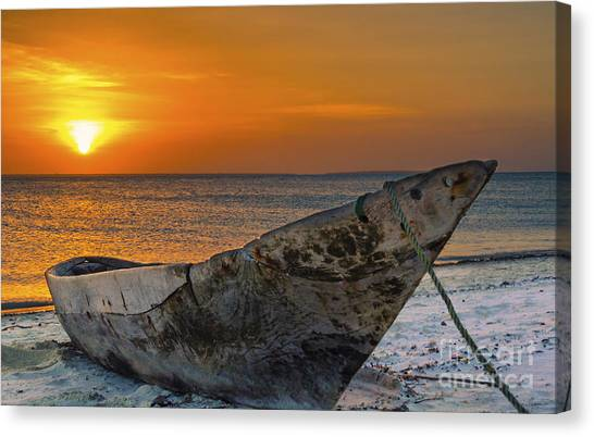Sunset In Zanzibar - Kendwa Beach Canvas Print by Pier Giorgio Mariani