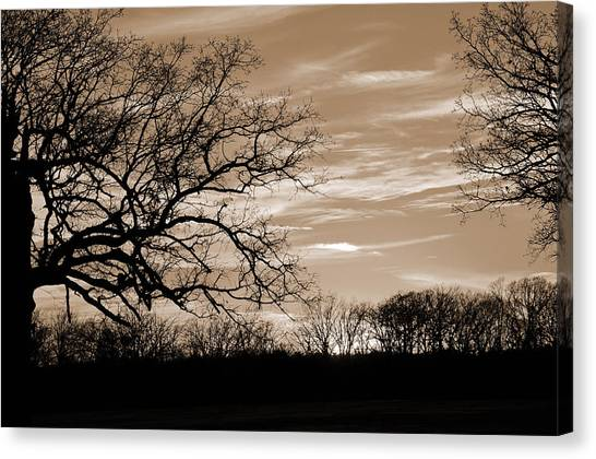Sunset Is Sepia  Canvas Print