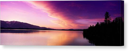 Wy Canvas Print - Sunset Jackson Lake Grand Teton by Panoramic Images