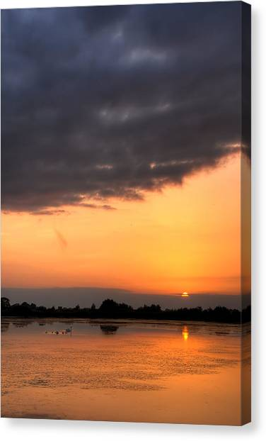 Lake Sunsets Canvas Print - Sunset by Jaroslaw Grudzinski