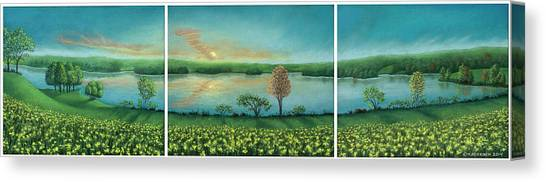 Sunset Lake Triptych Canvas Print