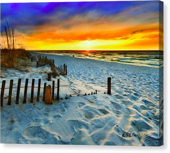 Sunset Landscape-red Beach Sunset Canvas Print