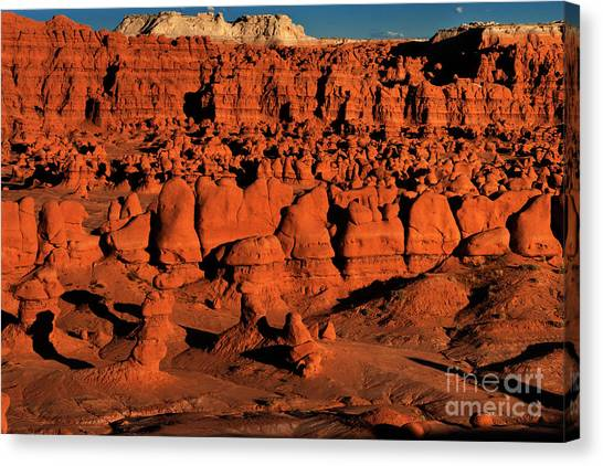 Sunset Light Turns The Hoodoos Blood Red In Goblin Valley State Park Utah Canvas Print