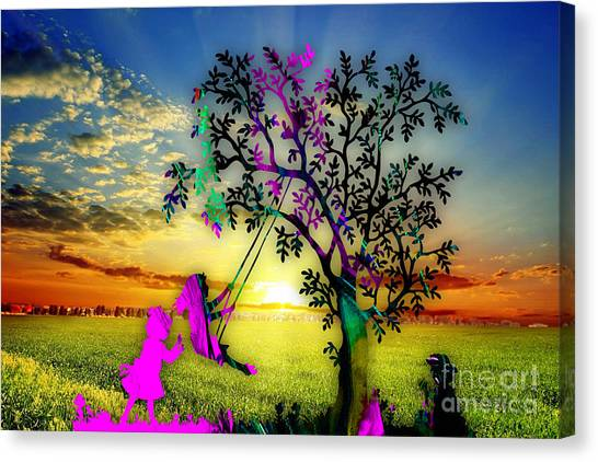 Blue Sky Canvas Print - Sunset by Marvin Blaine