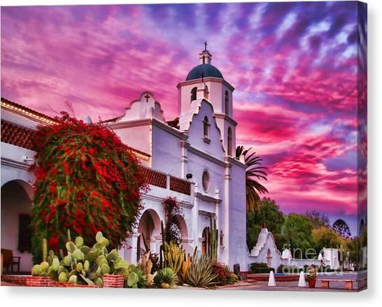Sunset Mission San Luis Rey De Francia By Diana Sainz Canvas Print