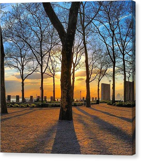 Statue Of Liberty Canvas Print - Battery Park Sunset by Dan Fischer
