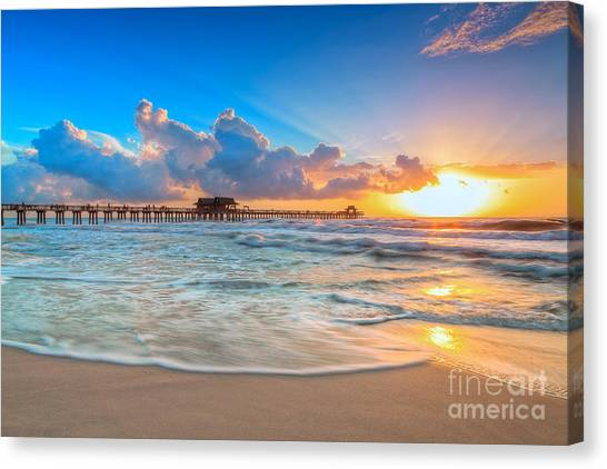 Beach Sunrises Canvas Print - Sunset Naples Pier by Hans- Juergen Leschmann