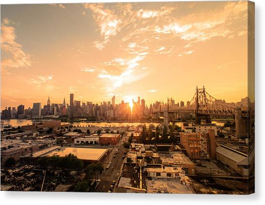 City Sunsets Canvas Print - Sunset - New York City Skyline by Vivienne Gucwa