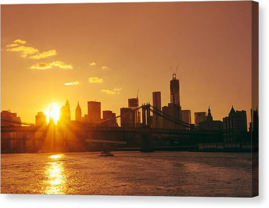 City Sunsets Canvas Print - Sunset - New York City by Vivienne Gucwa