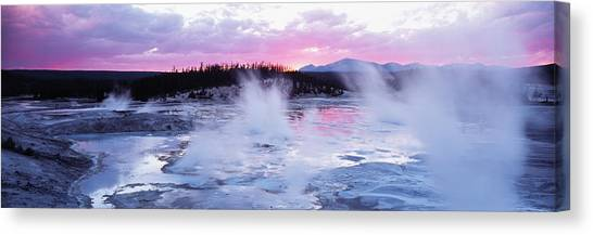 Wy Canvas Print - Sunset, Norris Geyser Basin, Wyoming by Panoramic Images