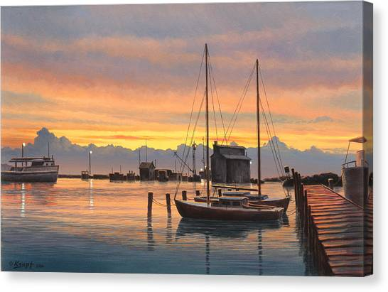 Harbor Canvas Print - Sunset-north Dock At Pelee Island   by Paul Krapf