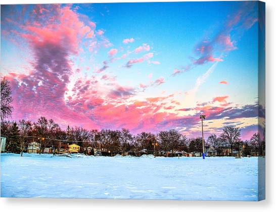 Sunset North Of Chicago Lake Michigan 1-19-14 Canvas Print by Michael  Bennett