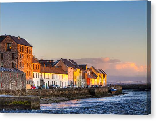 Canvas Print featuring the photograph Sunset On A Beautiful Winter Day In Galway Ireland by Mark E Tisdale